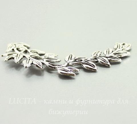 """Коннектор """"Ветка с листвой"""" (1-1) (цвет - античное серебро) 83х45 мм"""