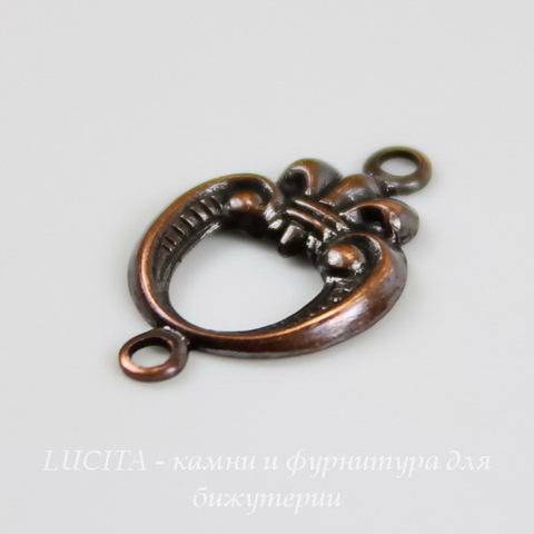 Винтажный декоративный элемент - коннектор (1-1) 15х10 мм (оксид меди) ()