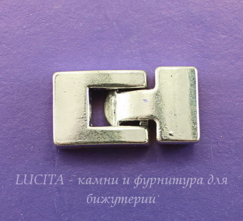 Замок из 2х частей для плоского шнура (цвет - античное серебро) 27х15 мм