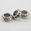 Бусина металлическая рондель 10х4 мм (цвет - античное серебро)