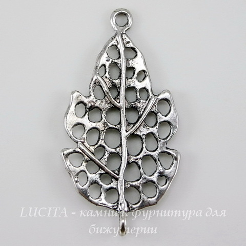 "Коннектор ""Листик"" (1-1) 37х20 мм (цвет - античное серебро)"
