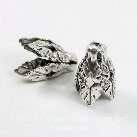 Винтажный декоративный элемент - шапочка - конус 16х11 мм (оксид серебра) ()