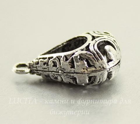 """Подвеска """"Ажурная капля"""" (цвет - античное серебро) 25х14 мм"""