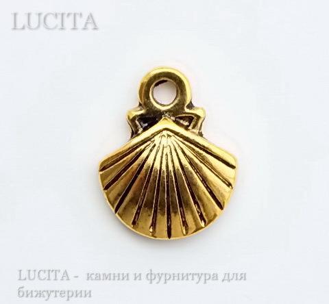 "Подвеска ""Ракушка"" 14х12 мм (цвет - античное золото) ()"