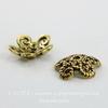 Шапочка для бусины ажурная (цвет - античное золото) 12х3 мм, 10 штук
