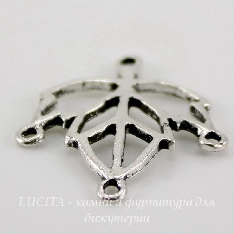 "Коннектор ""Листик"" (1-3) 21х18 мм (цвет - античное серебро)"