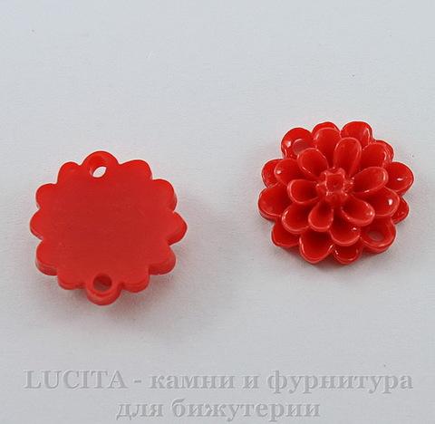 """Кабошон-коннектор акриловый """"Цветок"""", цвет - красный, 14 мм"""