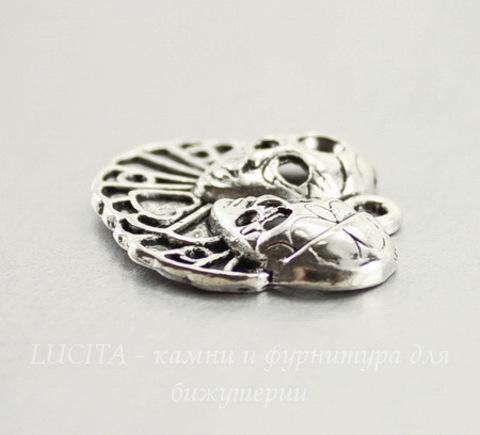 """Подвеска """"Венецианская маска"""" (цвет - античное серебро) 26х23 мм"""