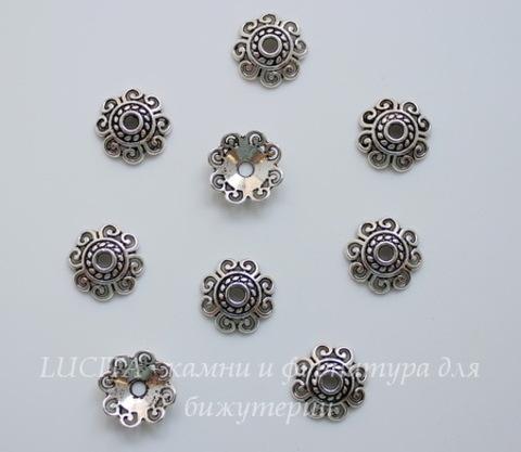 Шапочка для бусины (цвет - античное серебро) 12х3 мм, 10 штук