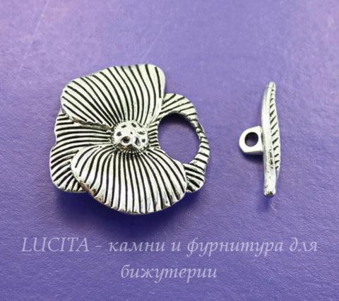 "Замок - тоггл из 2х частей ""Цветок"" 29х28 мм, 22х5 мм (цвет - античное серебро)"