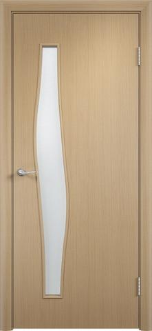 Дверь Верда С-10, цвет беленый дуб, остекленная