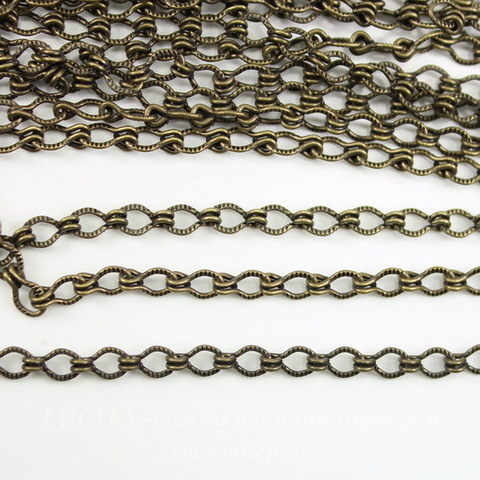 Винтажная цепь (звено 4х3 мм) (оксид латуни), 10 см ()
