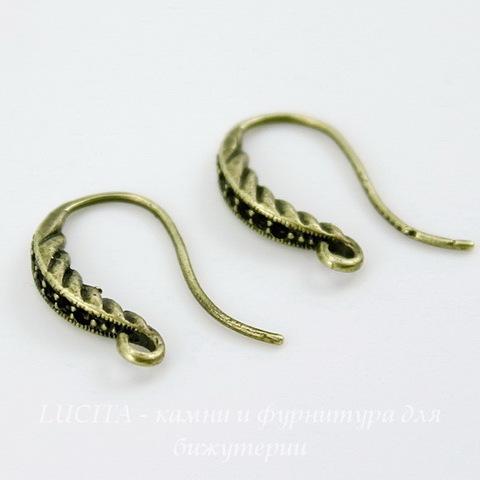 Швензы - крючки с узором, 18 мм (цвет - античная бронза), пара