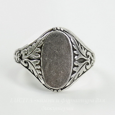 Винтажная основа для кольца с площадкой 14х8 для кабошона (оксид серебра)