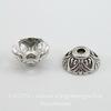 Шапочка для бусины 10х4 мм (цвет - античное серебро), 10 штук