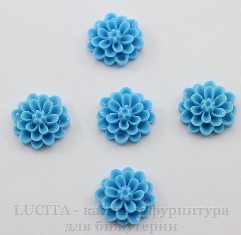 """Кабошон-коннектор акриловый """"Цветок"""" (1-1), цвет - голубой, 14 мм"""