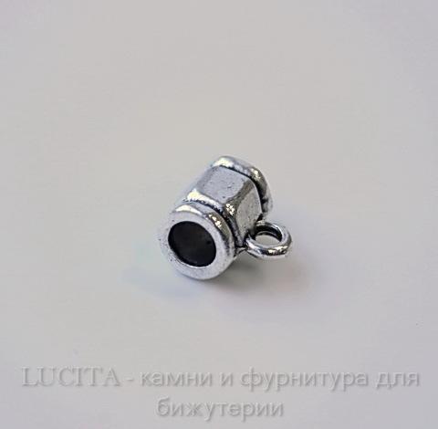 "Бейл ""Граненый"" (цвет - античное серебро) 9х8 мм"