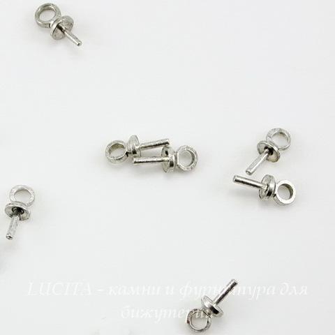 Держатель для бусины 7х3 мм (цвет - античное серебро), 10 штук