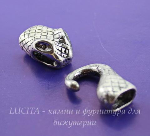 """Замок - крючок для шнура 10х6,5 мм из 2х частей """"Змея"""", 43х17 мм (цвет - античное серебро)"""