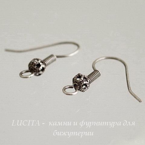 Винтажные швензы крючки с филигранным шариком 20 мм (оксид серебра) ()