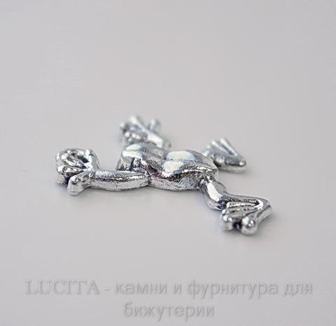 "Подвеска ""Лягушка"" (цвет - античное серебро) 25х19 мм"