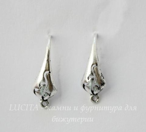 "Швензы - крючки ""Ажурные"" 18х10 мм (цвет - античное серебро)"