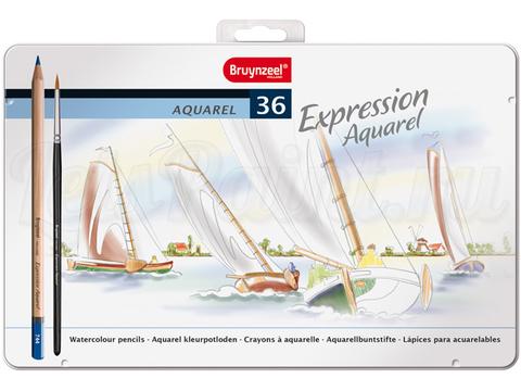 Набор из 36 акварельных карандашей Bruynzeel Expression Aquarel в метал. кор. + кисть