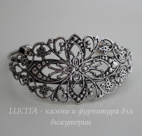 Основа для браслета с филигранью, 14 см (цвет - античное серебро)