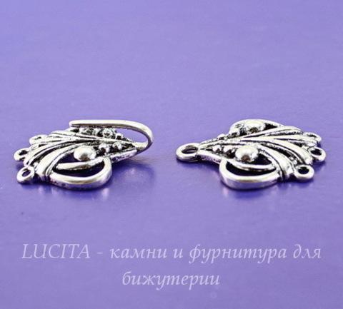"""Замок - крючок из 2х частей """"Аврора"""" на 3 нити (цвет - античное серебро) 46х21 мм"""