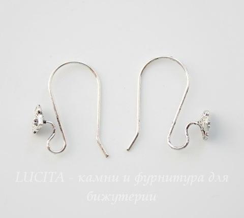 Швензы - крючки с цветком (цвет - античное серебро) 22х17 мм, ПАРА