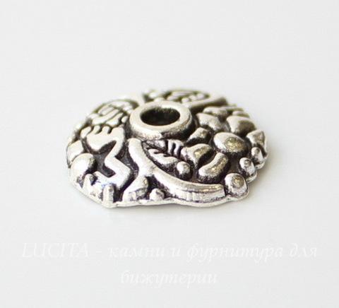 """Шапочка для бусины """"Цветочный узор"""" (цвет - античное серебро) 14х13х3 мм, 10 штук"""