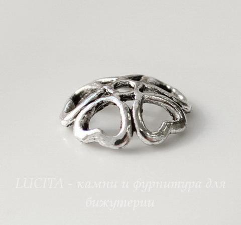 "Шапочка для бусины ""Сердечки"" (цвет - античное серебро) 10х3 мм, 10 штук"
