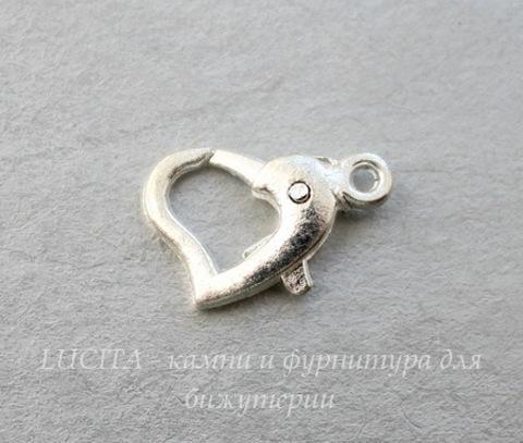 "Замок - карабин ""Сердце"" 14х10 мм (цвет - серебро)"