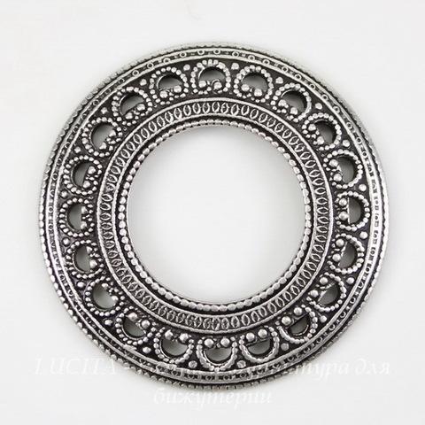 Винтажный декоративный элемент - рамка 27 мм (оксид серебра) ()