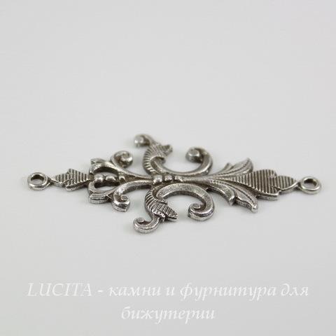 Винтажный декоративный элемент - коннектор (1-1) 40х18 мм (оксид серебра) ()
