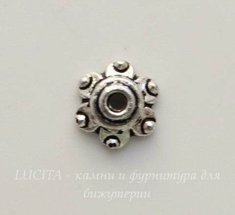 Шапочка для бусины (цвет - античное серебро) 6х3 мм, 10 штук