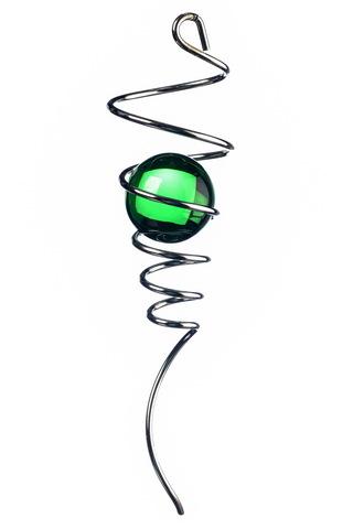 Спиральный хвостик серебристый с зеленым шаром (Iron Stop)