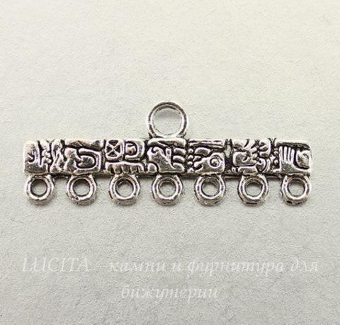 """Коннектор """"Тотем"""" (1-7) 39х14 мм (цвет - античное серебро)"""