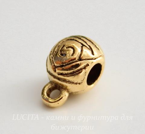 """Бейл """"Розы"""" 12х9х7 мм (цвет - античное золото)"""