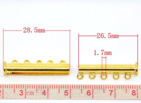 Замок магнитный трубочка на 5 нитей (цвет - золото) 30х10 мм (B09348B)