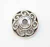 """Шапочка для бусины """"Ажурная"""" (цвет - античное серебро) 14х7 мм, 10 штук"""