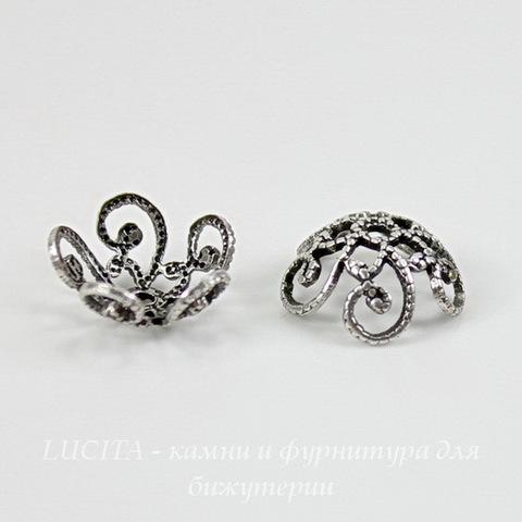 Винтажный декоративный элемент - шапочка 10х4 мм (оксид серебра)