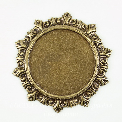 Сеттинг - основа для камеи или кабошона 27 мм (оксид латуни)