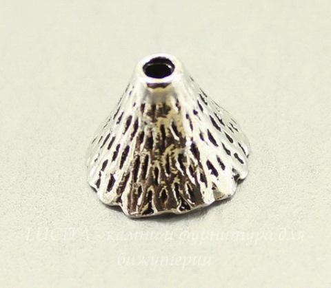 """Шапочка для бусины """"Конус"""" с узорами (цвет - античное серебро) 12х9 мм, 10 штук"""