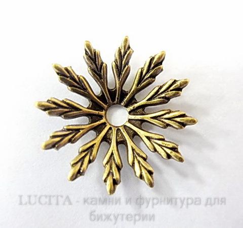 Винтажный декоративный элемент - шапочка 17х3 мм (оксид латуни) ()