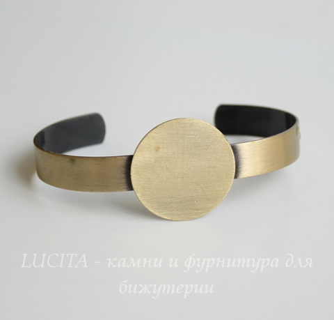 Основа для браслета с площадкой 25 мм (цвет - античная бронза) 65х44х25 мм