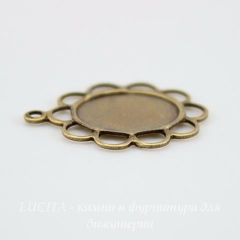 """Сеттинг - основа - подвеска """"Ажурный"""" для камеи или кабошона 10х8 мм (оксид латуни) ()"""