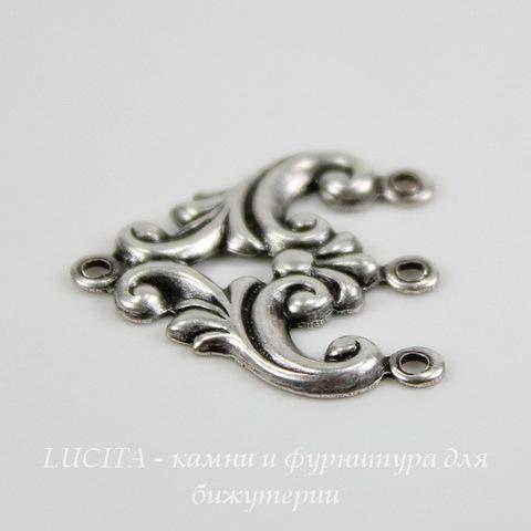 Винтажный декоративный элемент - коннектор (1-3) 20х20 мм (оксид серебра) ()