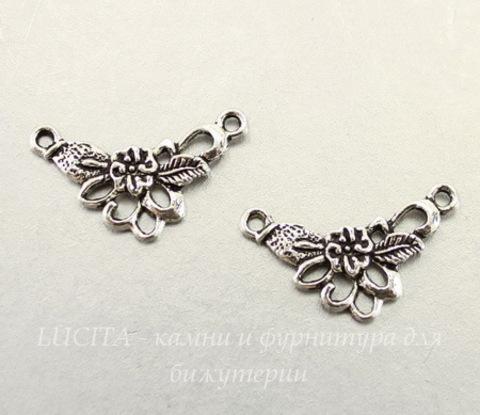 "Коннектор ""Ажурный цветок"" (1-2) (цвет - античное серебро) 26х15 мм, ПАРА"