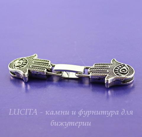 "Замок для шнура 9,5х2 мм из 2х частей ""Ладонь Хамса"", 58х18 мм (цвет - античное серебро)"